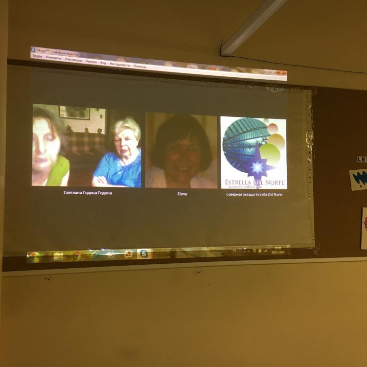 Skype conferencia entra tres asociaciones rusas en España con las señoras que sobrevivieron en el cerco de Leningrado en la Gtran Guerra Patria
